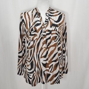 Brittany Black Black and Brown Print Top size L